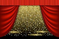 abstrakt scenisk för skådespelaremaskeringsplats Teatergardin- och strålkastarestråle Platsbakgrund Royaltyfri Fotografi