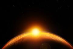 Abstrakt science fictionbakgrund, flyg- sikt av soluppgång/solnedgången över jordplaneten Royaltyfria Bilder