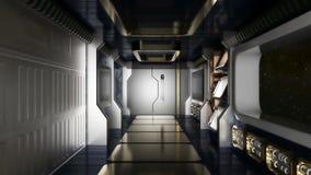 Abstrakt science fictionrymdskeppkorridor Royaltyfri Fotografi