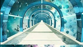 Abstrakt science fictionutrymmekorridor royaltyfri illustrationer