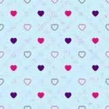 abstrakt seamless hjärtamodell Valetines dag, födelsedagnolla Arkivbilder