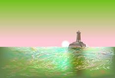 Abstrakt seascape för bakgrund med solnedgång och fyren royaltyfri illustrationer