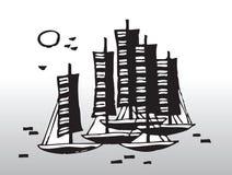 Abstrakt segelbåtar Arkivfoton