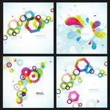 abstrakt set för bakgrunder fyra stock illustrationer