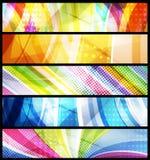 abstrakt set vektor för baner fem stock illustrationer
