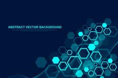 Abstrakt sexhörnig bakgrund med vågor Sexhörniga molekylära strukturer Futuristisk teknologibakgrund i vetenskap royaltyfri illustrationer