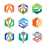 Abstrakt sexhörnig packe Logo Template Design Vector Royaltyfri Illustrationer