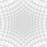 Abstrakt sexhörningsbakgrund för vit 3d som framför geometriska polygoner Royaltyfria Foton