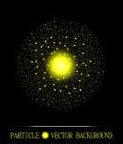 Abstrakt shpere av för partikelutrymme för guling glödande ljus bakgrund för svart Arkivfoto