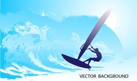 Abstrakt silhouette av surfaren på hav stock illustrationer