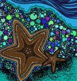 Abstrakt sjöstjärna och abstrakt kust med havsvatten stock illustrationer