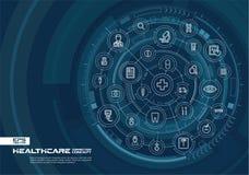 Abstrakt sjukvård- och medicinbakgrund Digital förbinder systemet med inbyggda cirklar, den glödande tunna linjen symboler royaltyfri illustrationer