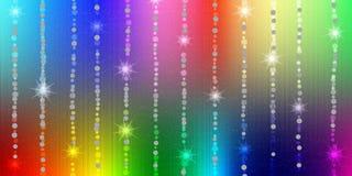 Abstrakt skinande mousserar och stjärnor i regnbågefärgbakgrund stock illustrationer