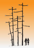 abstrakt skogvänsilhouette Royaltyfria Bilder