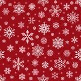 Abstrakt snöflinga av geometriska former Fallande snöflinga för jul på den röda bakgrunden Bakgrund för vektor för snö för vinter vektor illustrationer