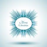 Abstrakt snöflinga med tecknet för glad jul Arkivfoto