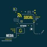 Abstrakt socialt gemenskapnätverk, växelverkande massmediavektorbegrepp stock illustrationer
