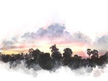 Abstrakt solljus, soluppgång, solskenvattenfärgpaintig stock illustrationer