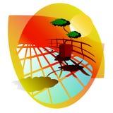 Abstrakt solnedgånglandskap vektor illustrationer