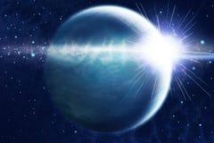 abstrakt soluppgång för liggandeplanetavstånd Royaltyfria Foton