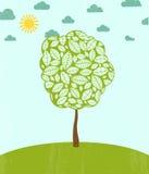 Abstrakt sommarbakgrund med trädet. Arkivfoto