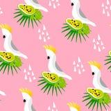 Abstrakt sommarmodell med den gulliga papegojan, palmblad, papayaen och trianglar på rosa bakgrund Prydnad för textil och inpackn Fotografering för Bildbyråer