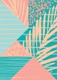 Abstrakt sommarsammansättning med hand dragen tappningtextur och geometriska beståndsdelar Royaltyfria Bilder