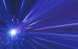 Abstrakt spacescape, hastighet av ljus och linsen blossar Arkivfoton