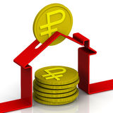 Abstrakt spargris i formen av ett hus med mynten inteckna Köpet av hus stock illustrationer