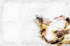 Abstrakt spela bakgrund för gitarren i förgrunden, vattenfärgmålningoch den Digital illustrationen borstar till konst Royaltyfri Fotografi