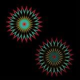 Abstrakt spirographkonst, parabolisk kurva av linjen i cirkelformillustration blå vektor för sky för oklarhetsbildregnbåge Rund m royaltyfri illustrationer