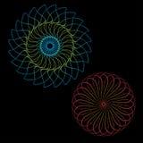 Abstrakt spirographkonst, parabolisk kurva av linjen i cirkelformillustration blå vektor för sky för oklarhetsbildregnbåge Rund m vektor illustrationer