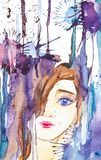 Abstrakt stående av en härlig ung flicka på bakgrunden av droppar och fläckar Vattenf?rgillustration som isoleras p? vit royaltyfri illustrationer