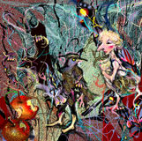 Abstrakt stående av en kvinna med ett bitit äpple Royaltyfria Foton