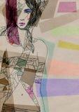 abstrakt ståendekvinna skärm för efterföljd för bakgrundsdatormode Arkivbild