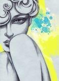 abstrakt ståendekvinna skärm för efterföljd för bakgrundsdatormode Arkivfoto