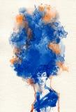 abstrakt ståendekvinna skärm för efterföljd för bakgrundsdatormode Arkivbilder