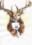 abstrakt ståendekvinna skärm för efterföljd för bakgrundsdatormode Royaltyfri Bild