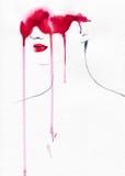 abstrakt ståendekvinna skärm för efterföljd för bakgrundsdatormode Arkivfoton
