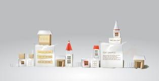 Abstrakt stad som göras av papperskuber med utrymme för text Arkivbild