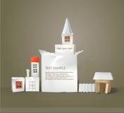 Abstrakt stad som göras av papperskuber med utrymme för text Royaltyfria Foton