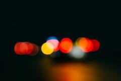 Abstrakt stads- nattljusbokeh Arkivbilder