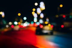 Abstrakt stads- nattljusbokeh Royaltyfri Fotografi