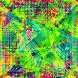 Abstrakt stads- sömlös modell Grunge texturbakgrund Hasade droppsprejer, trianglar, prickar, neonsprutmålningsfärg Royaltyfria Foton