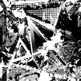 Abstrakt stads- sömlös modell Grunge texturbakgrund Hasade droppsprejer, trianglar, prickar, svartvit sprej Royaltyfri Bild