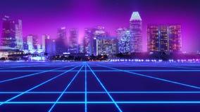 Abstrakt stads- virtuell verklighet för neonstadscyberpunk royaltyfri illustrationer