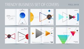 Abstrakt stil för dubblett-sida broschyrdesign med färgglade trianglar för att brännmärka Bredsida för affärsvektorpresentation stock illustrationer