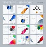 Abstrakt stil för runda för dubblett-sida broschyrdesign med färgglade cirklar för att brännmärka Affärsvektorpartnerskap vektor illustrationer