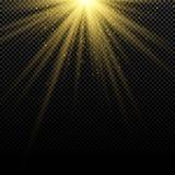 Abstrakt stilfull guld- ljus effekt på mörk bakgrund ljusa signalljus Ljusa strålar Magisk explosion Solljus med fallande guld D stock illustrationer