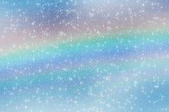 Abstrakt stjärnahimmel fördunklar regnbågesnöflingor Arkivbilder